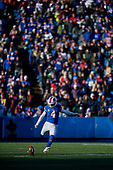 Buffalo Bills Stephen Hauschka (4) kicks off during an NFL football game against the New York Jets, Sunday, December 9, 2018, in Orchard Park, N.Y.  (Mike Janes Photography)