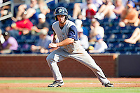 Andrew Garcia #6 of the Charlotte Knights takes off for second base against the Durham Bulls at Durham Bulls Athletic Park on August 28, 2011 in Durham, North Carolina.   (Brian Westerholt / Four Seam Images)