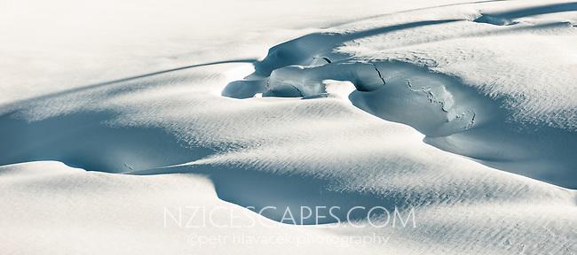 Crevasses in upper parts of Fox Glacier, Westland Tai Poutini National Park, UNESCO World Heritage Area, South Westland, New Zealand, NZ
