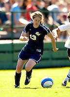2 September 2007: George Washington University Colonials' Kerry Philbin, a Junior from Herndon, VA, in action against the University of Vermont Catamounts at Historic Centennial Field in Burlington, Vermont. The Colonials rallied to defeat the Catamounts 2-1 in overtime during the TD Banknorth Soccer Classic...Mandatory Photo Credit: Ed Wolfstein Photo