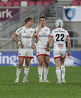 Friday 23rd April 2021;  Stewart Moore, James Hume and Michael Lowry during the first round of the Guinness PRO14 Rainbow Cup between Ulster Rugby and Connacht Rugby at Kingspan Stadium, Ravenhill Park, Belfast, Northern Ireland. Photo by John Dickson/Dicksondigital
