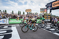 Photofinish victory by Dylan Groenewegen (NED/Jumbo Visma), claiming his first 2019 Tour victory <br /> <br /> Stage 7: Belfort to Chalon-sur-Saône (230km)<br /> 106th Tour de France 2019 (2.UWT)<br /> <br /> ©kramon
