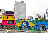 Mural em fachada de casa, Avenida Rebouças, Sao Paulo. 2020. Foto Juca Martins