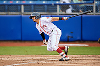 Salem Red Sox center fielder Chris Madera (3) follows through on a swing during the first game of a doubleheader against the Potomac Nationals on June 11, 2018 at Haley Toyota Field in Salem, Virginia.  Potomac defeated Salem 9-4.  (Mike Janes/Four Seam Images)