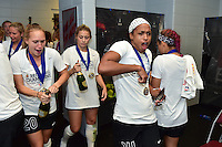 Houston, TX - Sunday Oct. 09, 2016: Janice Cayman, Jessica McDonald, celebrates after a National Women's Soccer League (NWSL) Championship match between the Washington Spirit and the Western New York Flash at BBVA Compass Stadium. The Western New York Flash win 3-2 on penalty kicks after playing to a 2-2 tie.