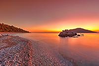 The sunset at the beach Milia of Skopelos island, Greece