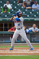 Richard Urena (16) of the Buffalo Bisons at bat against the Caballeros de Charlotte at BB&T BallPark on July 23, 2019 in Charlotte, North Carolina. The Bisons defeated the Caballeros 8-1. (Brian Westerholt/Four Seam Images)