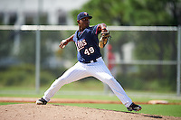 Minnesota Twins pitcher Moises Gomez (49) during an Instructional League game against the Boston Red Sox on September 24, 2016 at CenturyLink Sports Complex in Fort Myers, Florida.  (Mike Janes/Four Seam Images)
