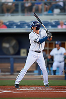 Charlotte Stone Crabs shortstop Tristan Gray (9) at bat during a game against the Palm Beach Cardinals on April 20, 2018 at Charlotte Sports Park in Port Charlotte, Florida.  Charlotte defeated Palm Beach 4-3.  (Mike Janes/Four Seam Images)