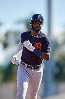 Detroit Tigers first baseman Niko Goodrum (28) rounds the bases after hitting a home run in the top of the first inning during a Grapefruit League Spring Training game against the Baltimore Orioles on March 3, 2019 at Ed Smith Stadium in Sarasota, Florida.  Baltimore defeated Detroit 7-5.  (Mike Janes/Four Seam Images)
