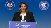 """United States Deputy Attorney General-designate Lisa Monaco makes remarks after US President-elect Joe Biden delivered remarks as he names """"Key Nominees for the Department of Justice"""" from the Queen Theatre in Wilmington, Delaware on Thursday, January 7, 2021.  <br /> CAP/MPI/RS<br /> ©RS/MPI/Capital Pictures"""