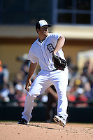 Detroit Tigers pitcher Evan Reed (57) during a spring training game against the St. Louis Cardinals on March 3, 2014 at Joker Marchant Stadium in Lakeland, Florida.  Detroit defeated St. Louis 8-5.  (Mike Janes/Four Seam Images)