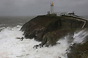 Storm Desmond causes high seas around South Stack lighthouse on the Anglesey coast, Wales, UK. 5-12-2015.
