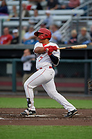 Auburn Doubledays Onix Vega (7) bats during a NY-Penn League game against the Mahoning Valley Scrappers on August 27, 2019 at Falcon Park in Auburn, New York.  Auburn defeated Mahoning Valley 3-2 in ten innings.  (Mike Janes/Four Seam Images)