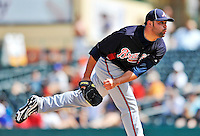 13 March 2012: Atlanta Braves pitcher Robert Fish on the mound during a Spring Training game against the Miami Marlins at Roger Dean Stadium in Jupiter, Florida. The two teams battled to a 2-2 tie playing 10 innings of Grapefruit League action. Mandatory Credit: Ed Wolfstein Photo