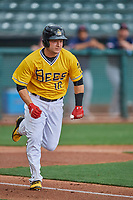 Matt Thaiss (10) of the Salt Lake Bees runs to first base against the Tacoma Rainiers at Smith's Ballpark on May 16, 2021 in Salt Lake City, Utah. The Bees defeated the Rainiers 8-7. (Stephen Smith/Four Seam Images)
