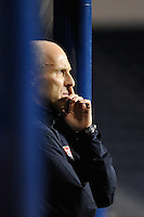 United States (USA) head coach Bob Bradley watches the action. The men's national teams of the United States (USA) and Colombia (COL) played to a 0-0 tie during an international friendly at PPL Park in Chester, PA, on October 12, 2010.