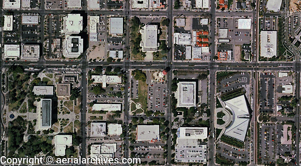 aerial photo map of downtown Fresno, California, 2006.  For more recent aerial photo maps of downtown Fresno, please contact Aerial Archives directly.