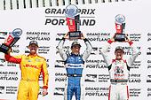 Ryan Hunter-Reay, Andretti Autosport Honda, Takuma Sato, Rahal Letterman Lanigan Racing Honda, Sébastien Bourdais, Dale Coyne Racing with Vasser-Sullivan Honda, podium