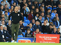 21st September 2021; Etihad Stadium,Manchester, England; EFL Cup Football Manchester City versus Wycombe Wanderers; Manchester City manager Pep Guardiola looks on from the technical area