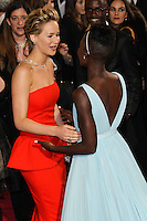 HOLLYWOOD, CA, USA - MARCH 02: Jennifer Lawrence, Lupita Nyong'o at the 86th Annual Academy Awards held at Dolby Theatre on March 2, 2014 in Hollywood, Los Angeles, California, United States. (Photo by Xavier Collin/Celebrity Monitor)