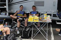"Competitors of the Metaltek kuota racing team take some time to relax before the race during the Abergavenny Festival of Cycling ""Grand Prix of Wales"" race on Sunday 17th 2016<br /> <br /> <br /> Jeff Thomas Photography -  www.jaypics.photoshelter.com - <br /> e-mail swansea1001@hotmail.co.uk -<br /> Mob: 07837 386244 -"