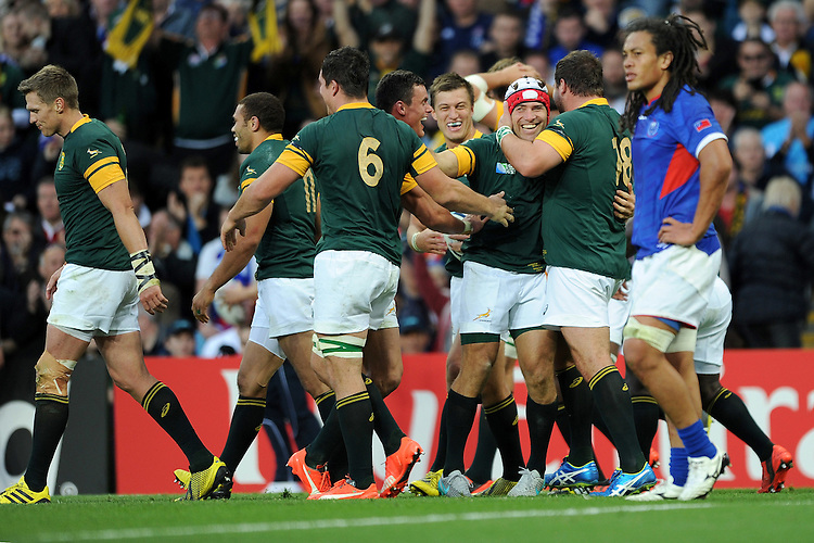 Schalk Brits of South Africa is delighted after scoring a try from the back of a driving maul during Match 15 of the Rugby World Cup 2015 between South Africa and Samoa - 26/09/2015 - Villa Park, Birmingham<br /> Mandatory Credit: Rob Munro/Stewart Communications