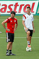 Germany manager Joachim Low and Miroslav Klose during training
