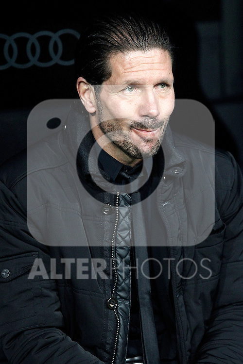 Atletico de Madrid's coach Diego Pablo Cholo Simeone during La Copa match.February 5,2014. (ALTERPHOTOS/Acero)