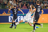 CARSON, CA - SEPTEMBER 15: Zlatan Ibrahimovic #9 of the Los Angeles Galaxy stretches after a loose ball during a game between Sporting Kansas City and Los Angeles Galaxy at Dignity Health Sports Park on September 15, 2019 in Carson, California.