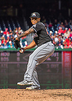 15 May 2016: Miami Marlins pitcher A.J. Ramos on the mound against the Washington Nationals at Nationals Park in Washington, DC. The Marlins defeated the Nationals 5-1 in the final game of their 4-game series.  Mandatory Credit: Ed Wolfstein Photo *** RAW (NEF) Image File Available ***