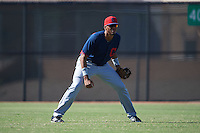 Cleveland Indians Junior Soto (41) during an instructional league game against the Milwaukee Brewers on October 8, 2015 at the Maryvale Baseball Complex in Maryvale, Arizona.  (Mike Janes/Four Seam Images)