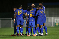 Louie Theophanous of Romford scores the second goal for his team and celebrates with his team mates during Romford vs Brentwood Town, BetVictor League North Division Football at Parkside on 11th February 2020