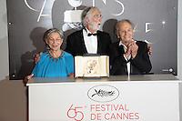 EMMANUELLE RIVA , MICHAEL HANEKE ' PALME D' OR ' & JEAN-LOUIS TRINTIGNANT- PALMARES DU 65EME FESTIVAL DE CANNES 2012