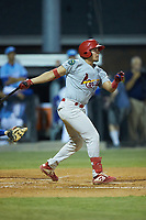 Aaron Antonini (53) of the Johnson City Cardinals follows through on his swing against the Burlington Royals at Burlington Athletic Stadium on September 3, 2019 in Burlington, North Carolina. The Cardinals defeated the Royals 7-2 to even Appalachian League Championship series at one game a piece. (Brian Westerholt/Four Seam Images)