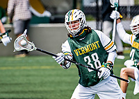 1 May 2021: University of Vermont Catamount Longstick Midfielder Colby Kudla, a Freshman from Tampa, FL, warms up prior to a game against the Stony Brook University Seawolves at Virtue Field in Burlington, Vermont. The Cats edged out the Seawolves 14-13 with less than one second to play in their America East Men's Lacrosse matchup. Mandatory Credit: Ed Wolfstein Photo *** RAW (NEF) Image File Available ***