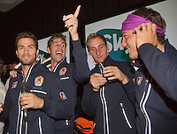 14-sept.-2013,Netherlands, Groningen,  Martini Plaza, Tennis, DavisCup Netherlands-Austria, ,  Team celebration, Ltr: Jean-Julien Rojer, Robin Haase, Thiemo de Bakker and Jesse Huta Galung <br /> Photo: Henk Koster