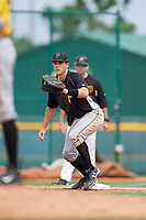 Pittsburgh Pirates Lucas Tancas (5) waits to receive a throw during an Instructional League intrasquad black and gold game on October 3, 2017 at Pirate City in Bradenton, Florida.  (Mike Janes/Four Seam Images)