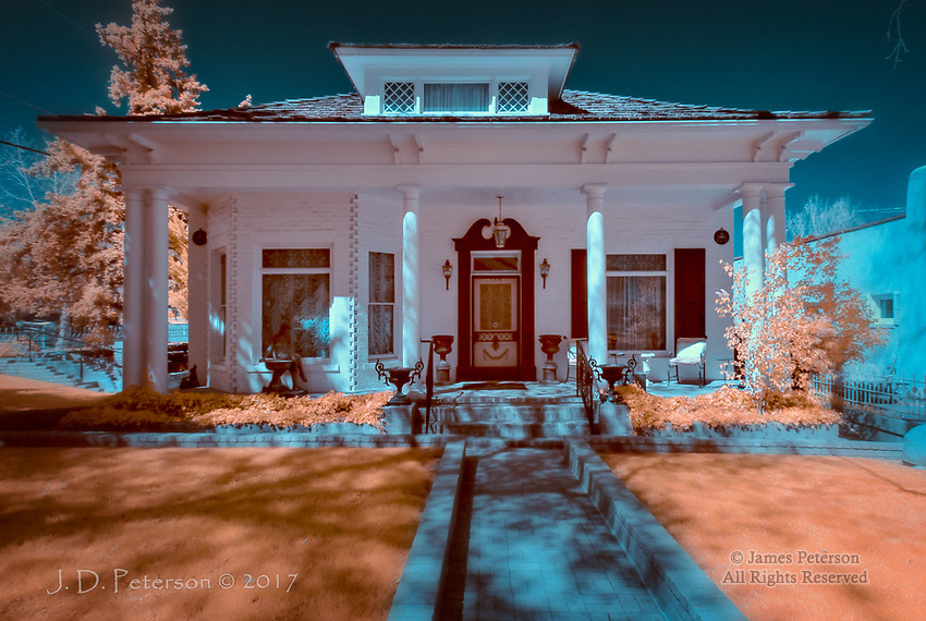 "Historic Home, Prescott, Arizona (Infrared) ©2017 James D Peterson.  Prescott was once the capital of Arizona, and it was also a territorial center full of rough and tumble miners and cowhands.  But it had its elegant side as well.  Mt. Vernon Ave. is lined with classic and victorian homes, many of which are listed on the National Register of Historic Places.  I'll be adding images of many of them to my ""Domicile"" series."