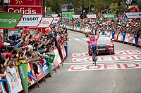 victory for Sergio Higuita (COL/EF Education First) on stage 18<br /> <br /> Stage 18: Colmenar Viejo to Becerril de la Sierra (178km)<br /> La Vuelta 2019<br /> <br /> ©kramon