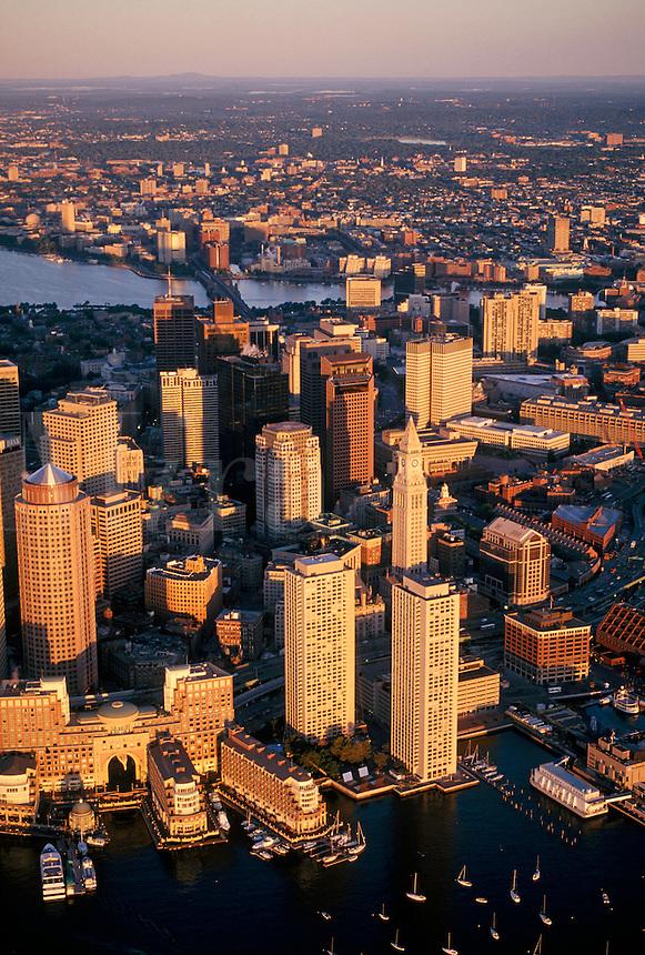 Downtown harbor sunrise Boston MA
