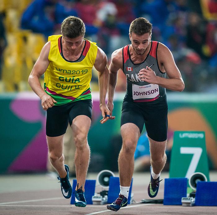 David Johnson, Lima 2019 - Para Athletics // Para-athlétisme.<br /> David Johnson competes in the men's 400 T12. // David Johnson participe au 400 m T12 masculin. 25/08/2019.
