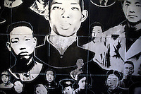 A mural depicts early 20th century Communist revolutionaries in Nanjing, China, at the Yuhuatai Museum of Revolutionary Martyrs in Nanjing, China.