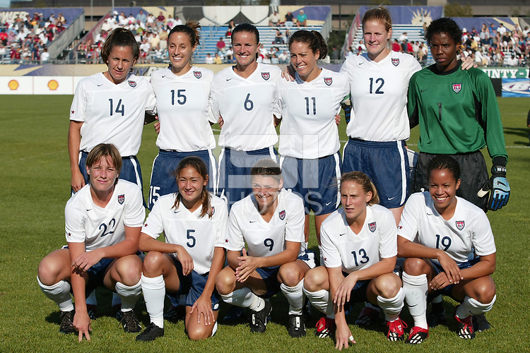 The starting line up for the USWNT prior to their game against Russia on  September 29, at Mitchel Athletic Complex, Uniondale, NY.