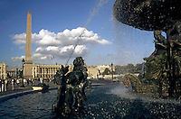 Water fountain and obelisk on the Place de la Concorde, Paris, France.