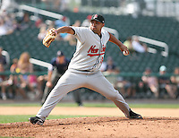 2007:  Jose Mijares of the New Britain Rock Cats, Class-AA affiliate of the Minnesota Twins, during the Eastern League baseball season.  Photo by Mike Janes/Four Seam Images