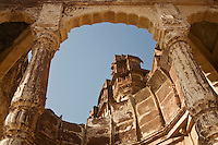 A view of MEHERANGARH FORT from JAYAPOL GATE in JOHDPUR - RAJASTHAN, INDIA