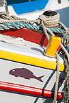 Local fishing boats in the port of Katakolon, Greece