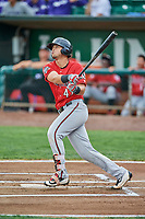 Pabel Manzanero (47) of the Billings Mustangs bats against the Ogden Raptors at Lindquist Field on August 17, 2018 in Ogden, Utah. Billings defeated Ogden 6-3. (Stephen Smith/Four Seam Images)