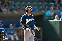 Gilbert Lara (6) of the Helena Brewers at bat against the Ogden Raptors in Pioneer League action at Lindquist Field on July 17, 2016 in Ogden, Utah. Ogden defeated Helena 5-4.  (Stephen Smith/Four Seam Images)